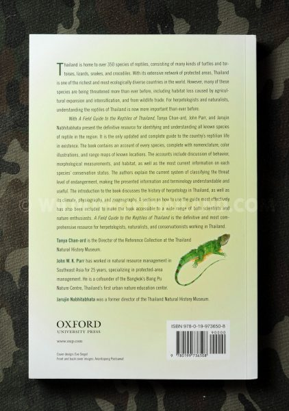 Back Cover of A Field Guide to the Reptiles of Thailand Tanya Chan-ard
